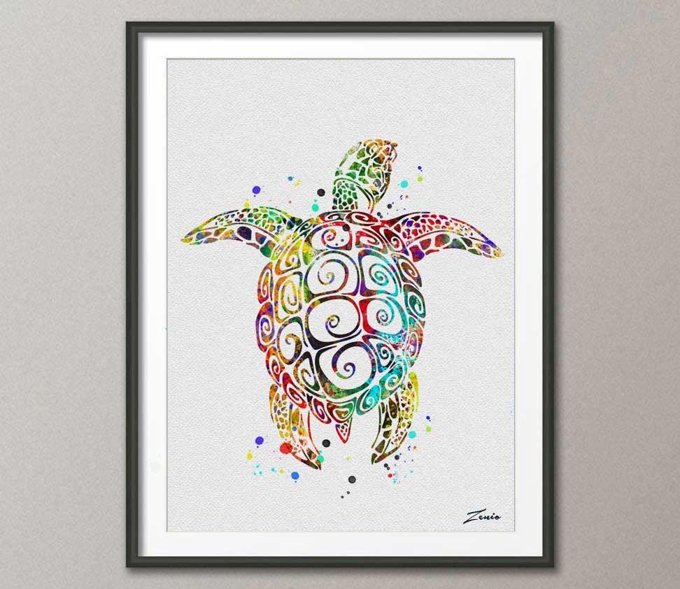 sea turtle poster sea turtle print watercolor poster green   Etsy