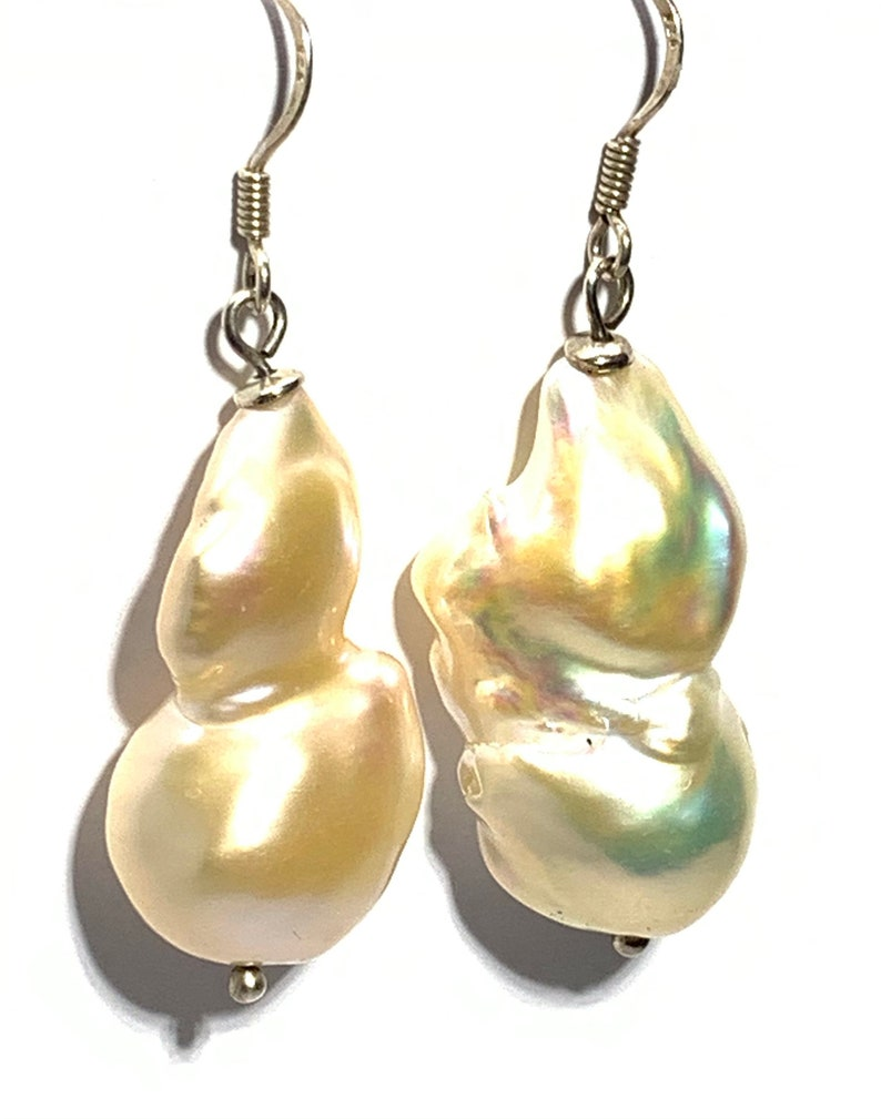 FREE SHIPPING Freshwater Barook Pearl Sterling Silver earrings