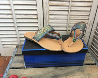 bdd564e32ce5f BoHo Beaded Leather Sandals~ Upcycled Leather Sandals Size 7