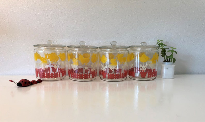 Vintage Anchor Hocking Clear Glass Canister Set of 4~Red and Yellow  Ducks,Lambs,and Bunnies, Vintage Decor, Vintage Nursery, Vintage Kitchen