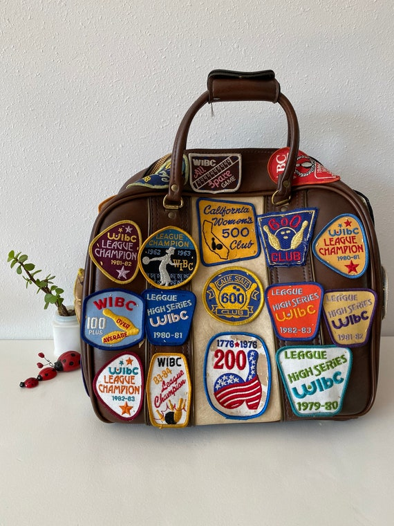 Vintage Bowling Bag with Patches