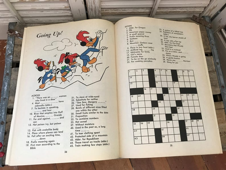 Vintage New Children's Activity/Puzzle Books~Woody Woodpecker,Road  Runner,New Old Stock,Vintage Toys,WB,Movie Prop,Whitman,Walter Lantz