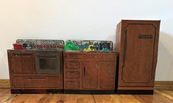 Vintage 3 Piece Toy Kitchen Set~Wolverine Sunny Suzy Play Kitchen w  Accessories,Vintage Toys,Vintage Doll Toys,Vintage Doll House,Movie Prop