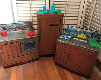 Vintage 3 Piece Toy Kitchen Set~Wolverine Sunny Suzy Play Kitchen W  Accessories,Vintage