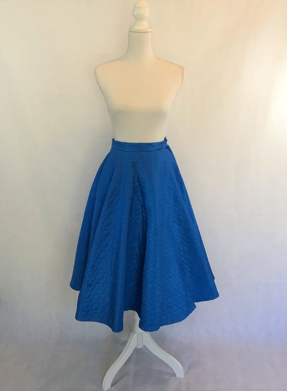 Vintage 50's Quilted Blue Circle Skirt~ Vintage Fa