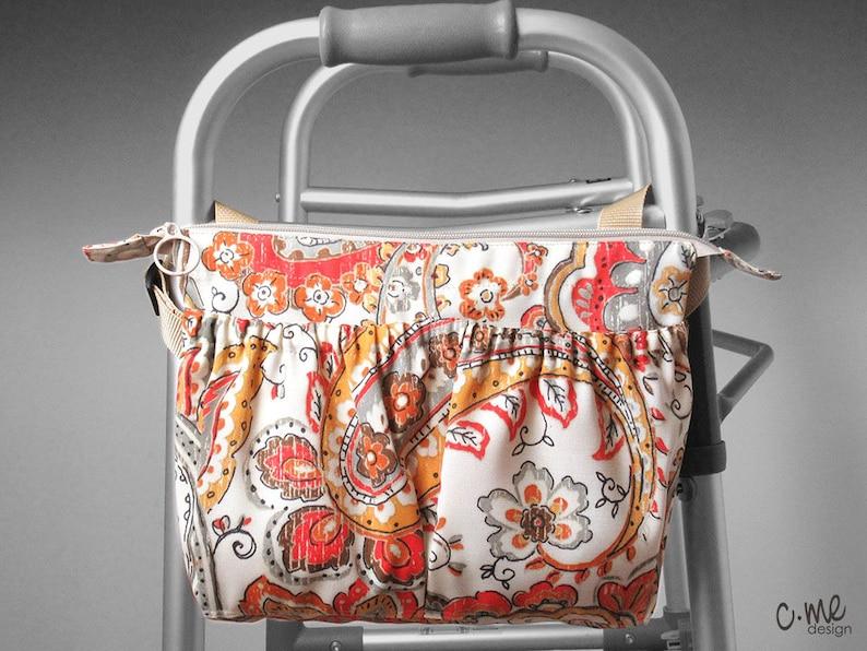 Bohemian paisley side walker or wheelchair bag in orange
