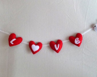 Valentine days gifts Heart decor Heart banner Love banner Felt banner Love ideas Party decor Felt ornamental Wedding banner