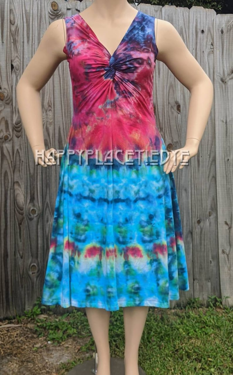 festival clothing womens summer dress,twisted front dress.knot front dress womens dress tie dye dress XL dress gifts festival dress