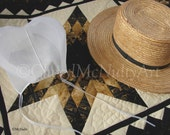 Amish Prayer Cap and Straw Hat On Amish Quilt Photographic Print Amish Country Clothing Simple Living Country Wall Decor