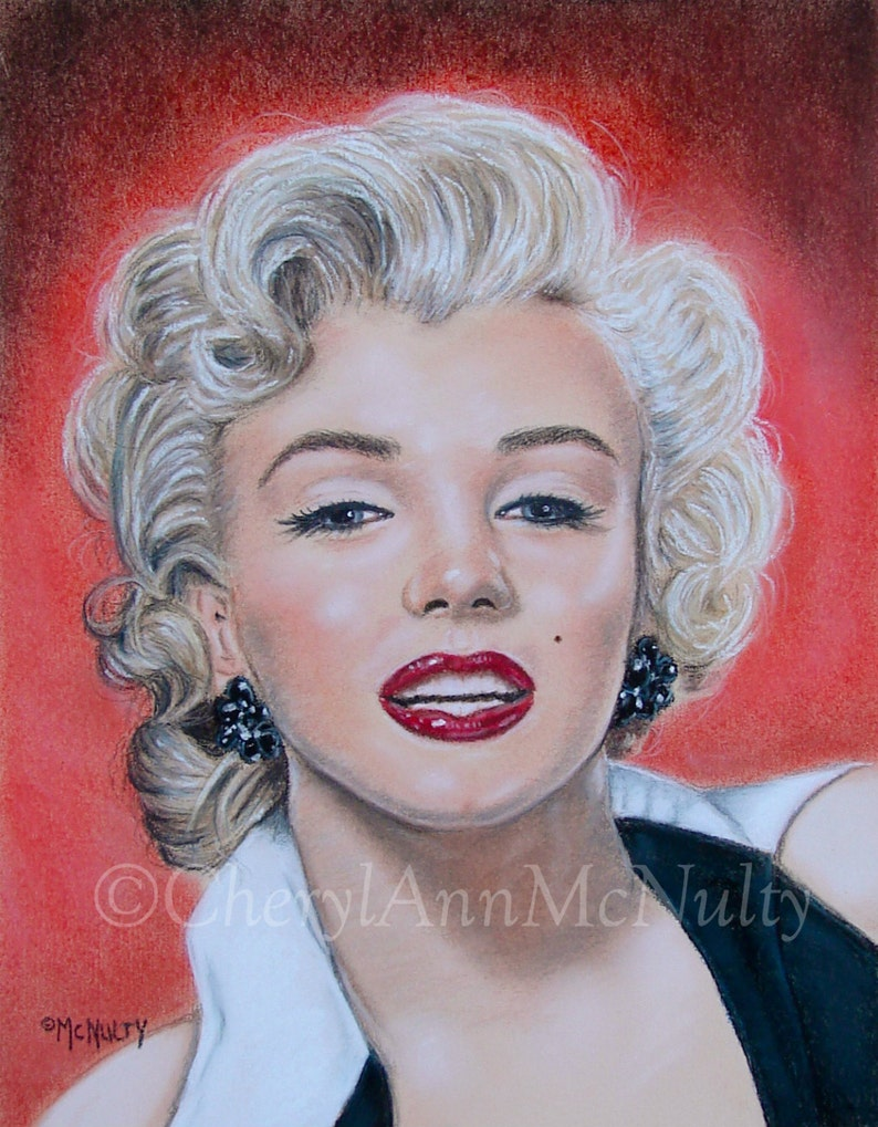 c2868e0475b Marilyn Monroe Print of Pastel Portrait Painting 1950 Classic Movie Stars  Celebrities Icons Wall Decor