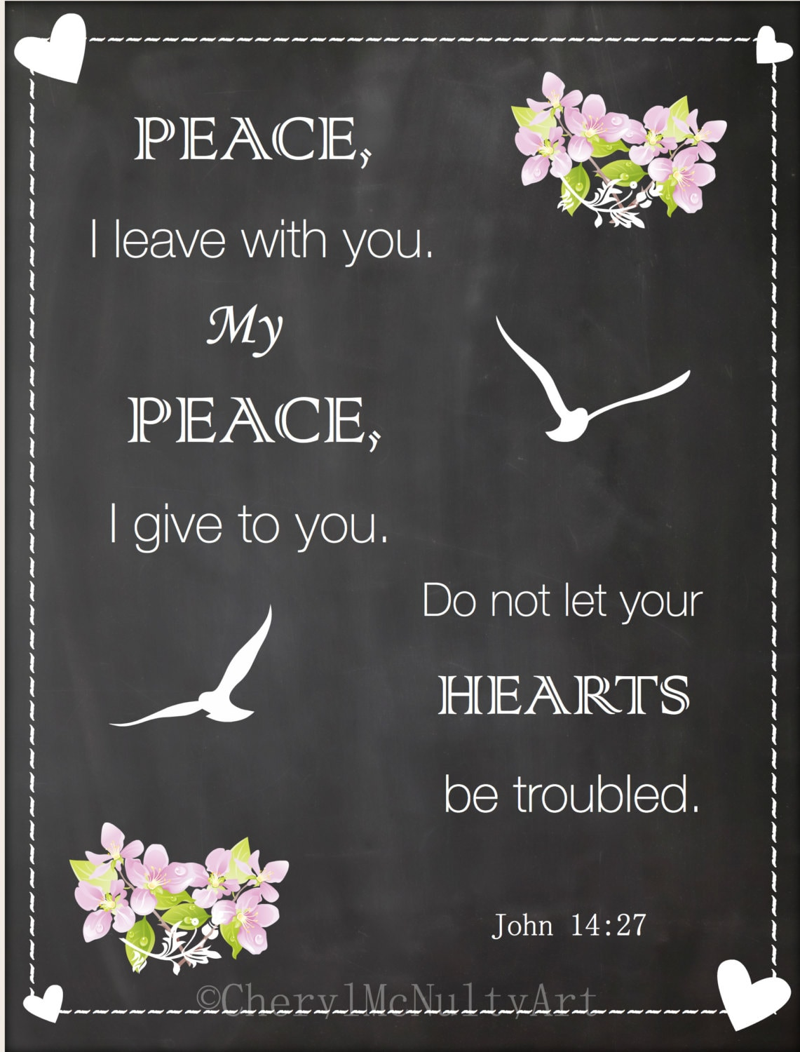 Peace Be With You Chalkboard Art Print Bible Verse Peace Quote Etsy