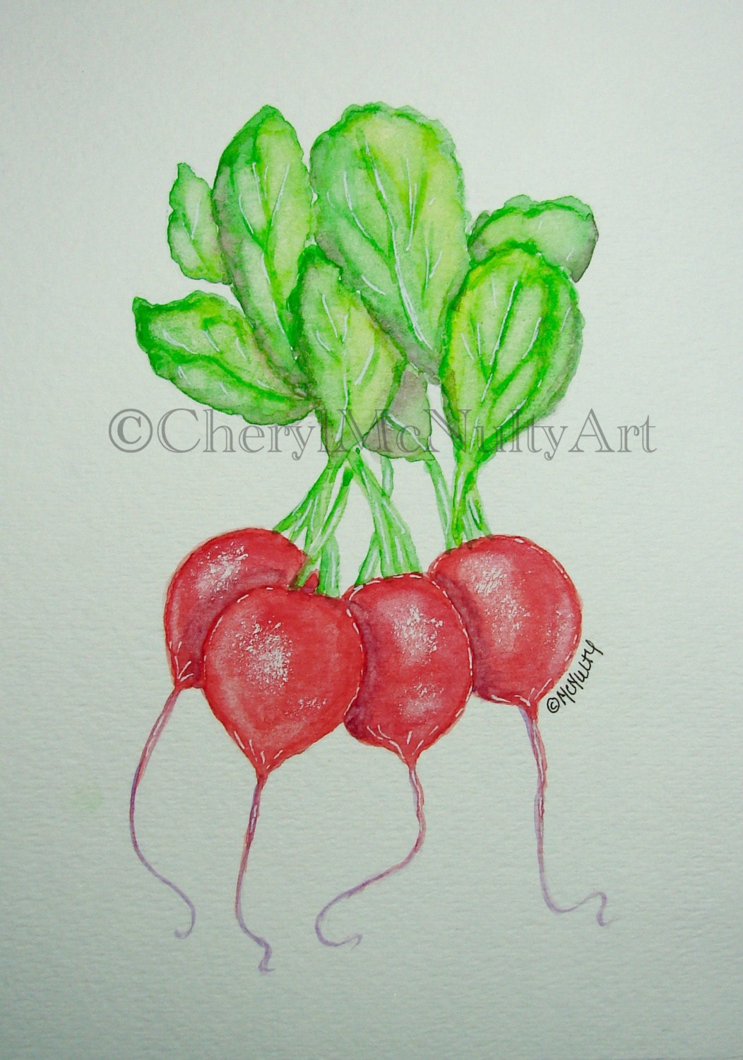Radishes Print of Watercolor Painting Farm Vegetables Farm To Table Food  Kitchen Wall Decor