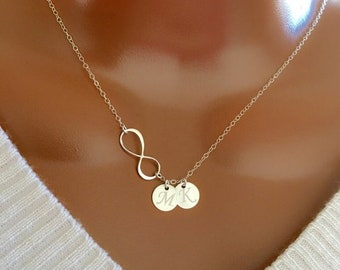 Infinity necklace,Y necklace,hand stamped initial,monogram necklace,family necklace,custom font,Friendship gift,graduation gift,mother gift