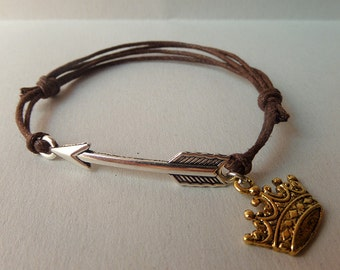 Outlaw Queen bracelet, waxed cotton cord adjustable bracelet with arrow and crown charms