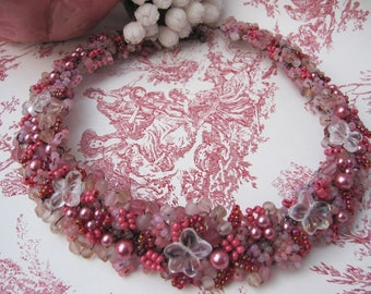 Powder Pink designer necklace scattered v1b 'secret garden'