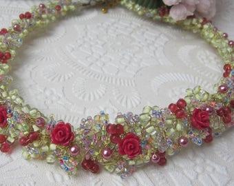Pink garden planting, 'secret garden' necklace