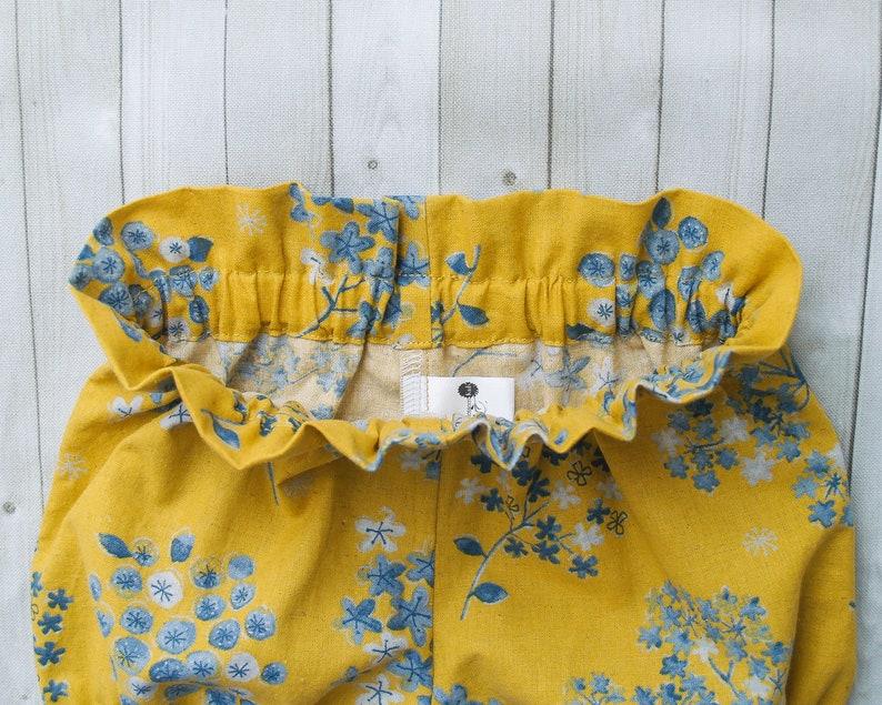 0-3 months Mustard Linen Blend Paper Bag Waist Bloomers