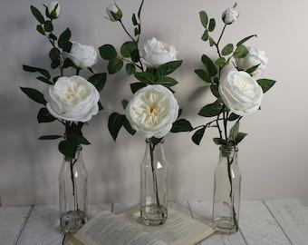 Fake flowers in vase etsy white silk rose tall glass bottle vase green white flowers large artificial spray roses flower arrangement faux bouquet christmas gift mightylinksfo