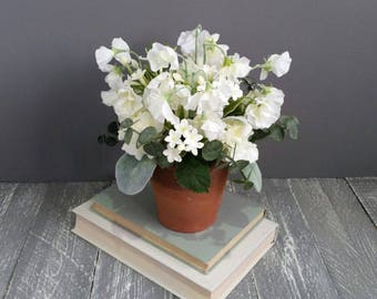 Artificial sweet pea etsy white silk flower arrangement sweet peas stephanotis hydrangea silk flowers vintage terracotta pot artificial faux grey gray plants birthday mightylinksfo