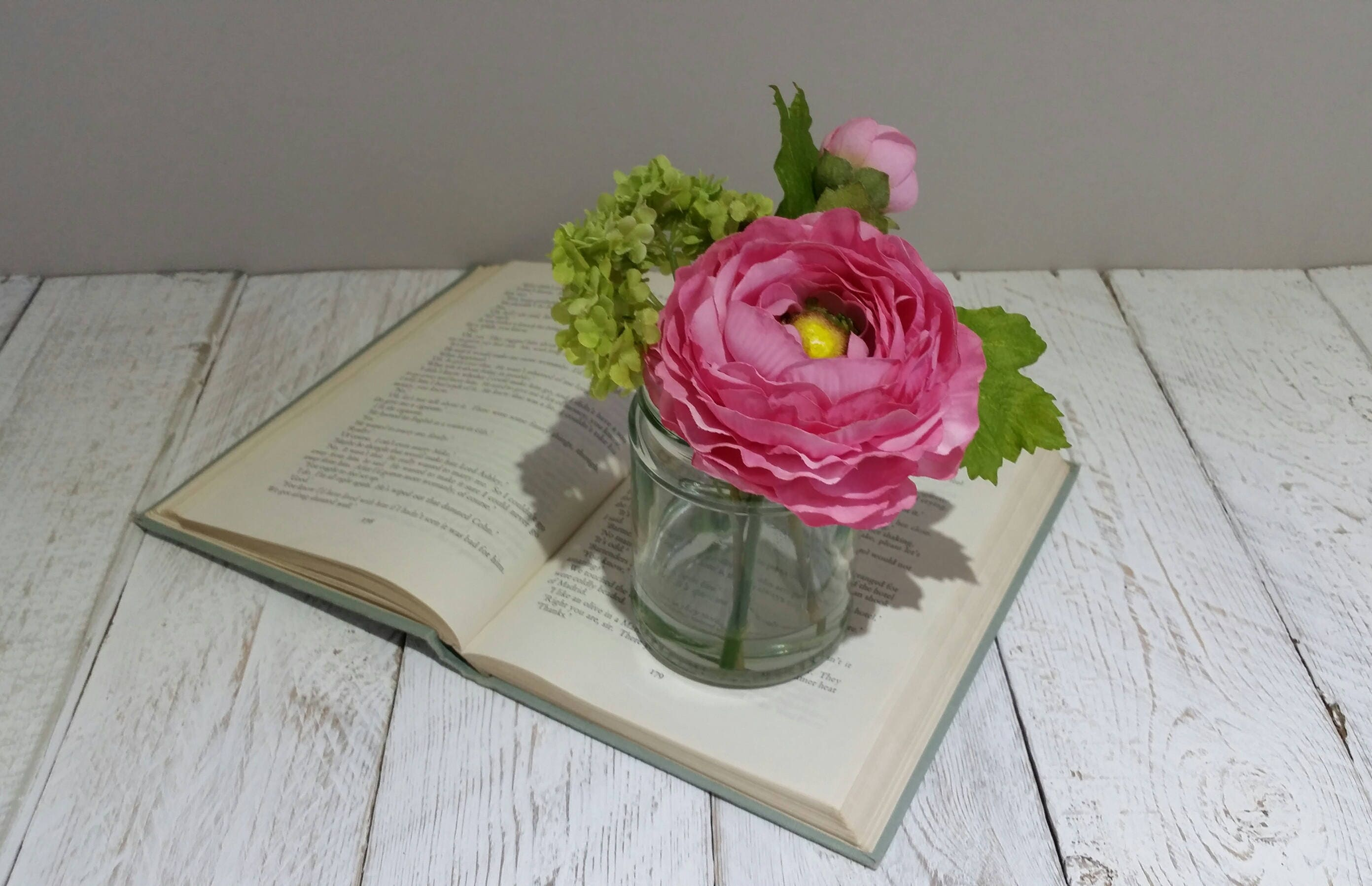Rosa Seide Ranunkeln Blumen in Marmelade Glas Vase Kalk Laub | Etsy