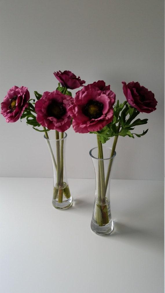 Heiße Rosa Anemone Blumen in groß Vase Seide Blumendekoration | Etsy