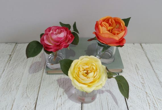 & Orange rose in vase Silk flower arrangement Faux bright | Etsy