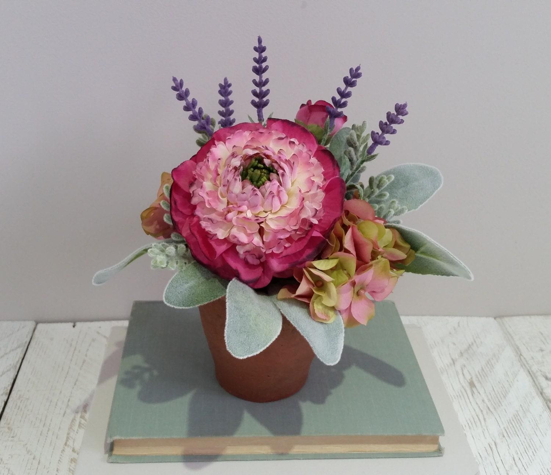 Faux Lavendel rosa grau Seide Blume Anordnung künstlichen | Etsy