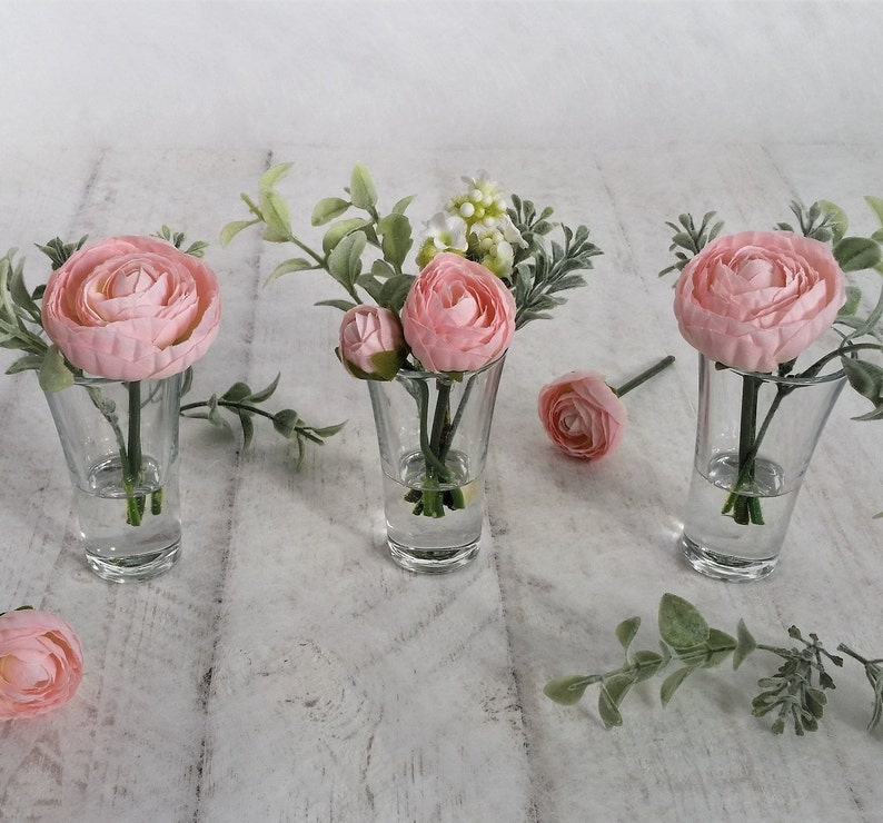 image 0 ... & TRIO pink silk ranunculus in small glass vases Flower | Etsy