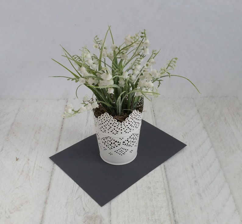 Artificial lily of the valley plants delicate pretty white lace pot Realistic faux white silk houseplant Indoor planter Gifts for her