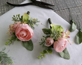 Pink & grey / gray boutonnieres Silk flower corsage Peony ranunculus buttonhole Groomsmen Wedding flower Boutonniere Annie Thompson Flowers
