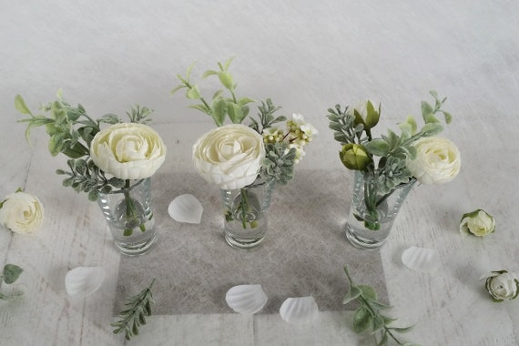 Etsy & Set 3 white silk ranunculus in small glass vases Flower arrangements Little artificial faux peony flowers Grey foliage Gifts for her