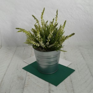 White Pink Heather Plant In Galvanised Tin Pot Artificial Etsy