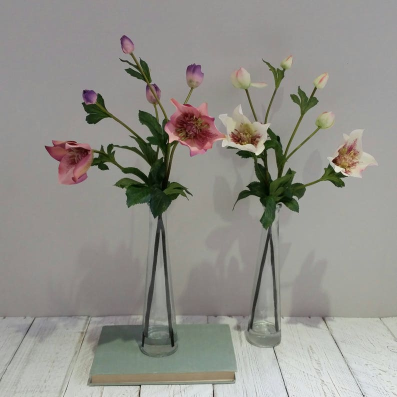 Tall Pink White Flowers In Glass Vase Silk Hellebore Flower Artificial Hellebores Silk Flower Arrangements Faux Pretty Gifts For Her