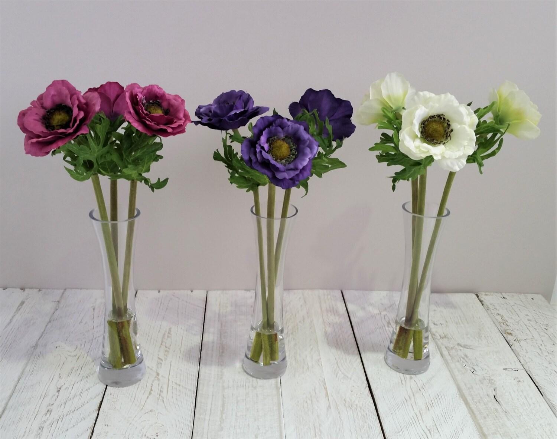 Lila Seide Anemonen in groß Glas Vase Seide Blumenarrangements | Etsy