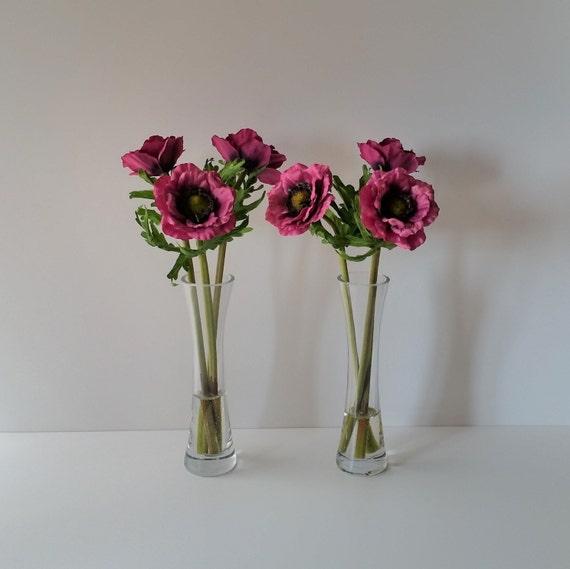 Hot Pink Anemone Flowers In Tall Vase Silk Flower Arrangements Etsy