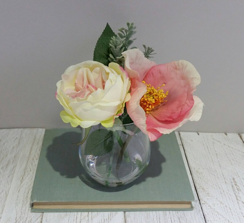 Mothers Day Gift Pale Peach Rose Poppy Silk Flowers In Etsy