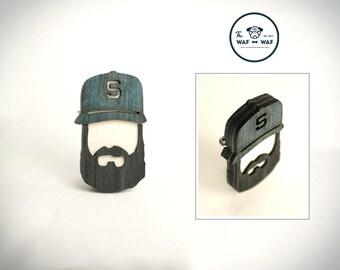 Wooden beard gift, wooden beard brooch, wooden beard badge, bearded man brooch