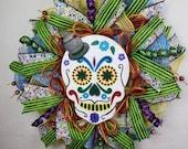 Day of the Dead, Dia de Los Muertos Wreath, Sugar Skull DOD decor, sugar scull decorations, Mexican traditional, All Saints All Souls Day