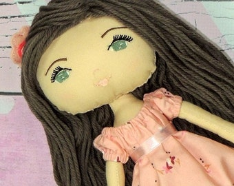 """ALEXA - Olive and Dewdrop Kids Doll - 17"""" OOAK Doll, Heirloom quality doll, Handmade Doll, Fabric Doll, Dress Up Doll  with Dress and PJs"""