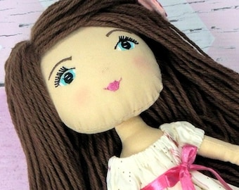 """HANNAH - Olive and Dewdrop Kids Doll - 17"""" OOAK Doll, Heirloom quality doll, Handmade Doll, Fabric Doll, Dress Up Doll 17"""" with Dress & PJs"""
