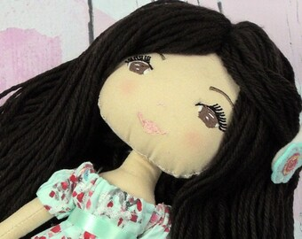 """NATALIE- Olive and Dewdrop Kids Doll 17"""", Handmade Cloth Doll, Heirloom  Doll, Rag Doll, Dress Up Doll, Doll with Clothes, Dress & PJs"""