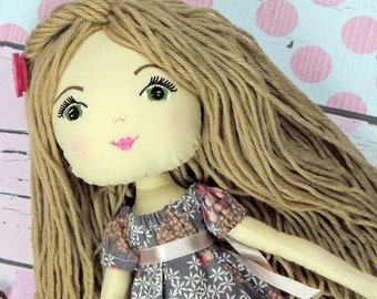 """EMILY - Olive and Dewdrop Kids Doll - 17"""" OOAK Doll, Heirloom quality doll, Handmade Doll, Fabric Doll, Dress Up Doll 17"""" with Dress & PJs"""