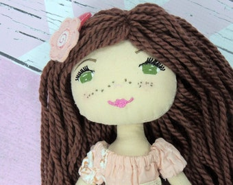 """MEG - Olive and Dewdrop Kids Doll 17"""", Handmade Cloth Doll, Heirloom Quality Doll, Rag Doll, Dress Up Doll, Doll with Clothes, Dress & PJs"""