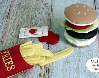 Wool Felt Hamburger and French Fries, Fast Food Meal, Pretend Food, Wool  Felt Play Food, Felt Hamburger, Play Food