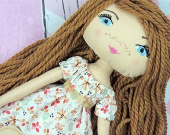 """GINGER - Olive and Dewdrop Kids Doll - 17"""" OOAK Doll, Heirloom quality doll, Handmade Doll, Fabric Doll, Dress Up Doll with Dress & PJs"""