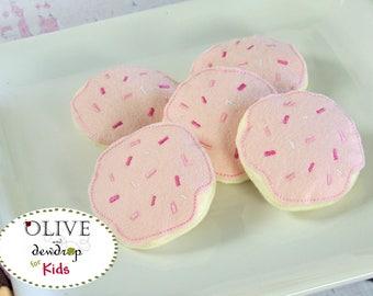 Wool Felt Sugar Cookies, Fake Food, Felt Food, Felt Cookies,  Pretend Play, Kitchen Decor, Pretend Food Set, Felt Bakery, Pink Cookies