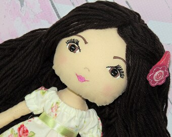 """BRITTAINY-Olive and Dewdrop Kids Doll-17"""" OOAK Doll, Heirloom quality doll, Handmade Doll, Fabric Doll, Dress Up Doll 17"""" with Dress and PJs"""