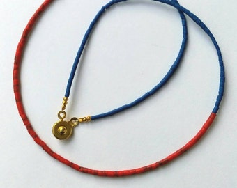 Afghan Lapis Lazuli Tiny Seed Tube Cylinder Pipe Small Beads Necklace with Coral Handmade Make for Order Dainty Minimal Jewelry