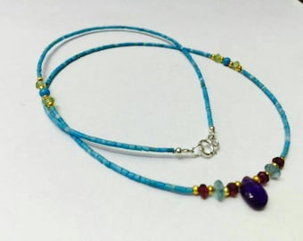 Afghan Natural Tiny Beads Top Real Turquoise with Apatite Amethyst /& Silver
