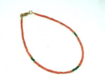 Coral, Green Agate, Brass Tiny Minimalist Seed Tube Beads Anklet Ankle Bracelet Semi Precious Gemstone Dainty Jewellery Hadmade Gift for Her